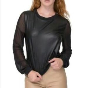 American apparel faux leather & mesh sleeves top